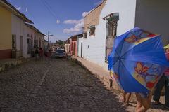 Blauwe paraplu royalty-vrije stock foto