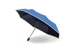 Blauwe paraplu op witte achtergrond Stock Afbeelding