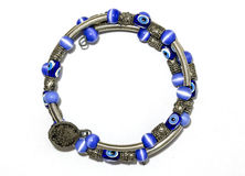 Blauwe Parel en Zilveren Armband Stock Afbeeldingen