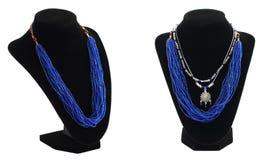 Blauwe parels op het zwart scherm Royalty-vrije Stock Foto