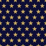 Blauwe patroonachtergrond met gouden schitterende sterren, zieke vector royalty-vrije illustratie