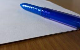 Blauwe pen Royalty-vrije Stock Foto's