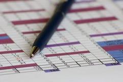 Blauwe pen op plan Royalty-vrije Stock Afbeelding