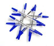 Blauwe pennen stock fotografie