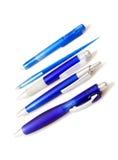 Blauwe pennen royalty-vrije stock foto