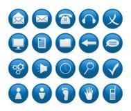 Blauwe pictogrammen Stock Afbeeldingen