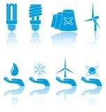 Blauwe pictogrammen Stock Afbeelding