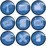 Blauwe Pictogrammen Stock Foto