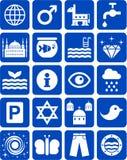 Blauwe pictogrammen Royalty-vrije Stock Fotografie