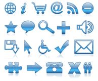 Blauwe pictogrammen Stock Foto's