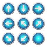 Blauwe pictogrammen met pijlen Royalty-vrije Stock Foto