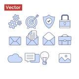 Blauwe pictogrammen modieuze, vlakke stijl Stock Foto