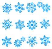 Blauwe pictogrammen van sneeuwvlok Royalty-vrije Stock Afbeelding