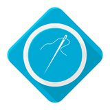 Blauwe pictogramnaald met lange schaduw Stock Foto