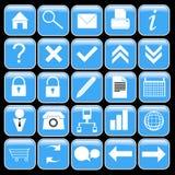 Blauwe pictogramreeks Stock Fotografie