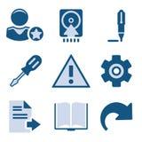 Blauwe pictogramreeks 6 stock illustratie