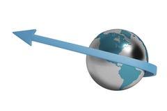 Blauwe pijl en Aarde, 3D illustratie Stock Afbeelding