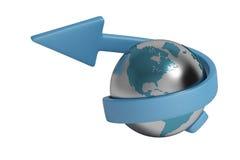 Blauwe pijl en Aarde, 3D illustratie Stock Fotografie