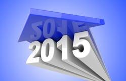 Blauwe pijl meer dan de tekst van 2015 Stock Foto