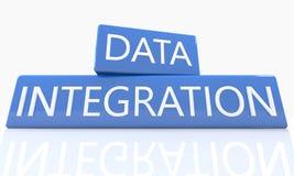 Blauwe Pijl met de slogan van de Gegevensintegratie op een grijze achtergrond Stock Foto