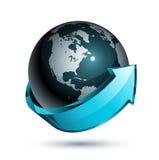 Blauwe pijl rond de bol van de Wereld Stock Afbeeldingen