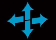 Blauwe pijlen Stock Afbeeldingen
