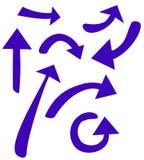 Blauwe pijlen die in verschillende richtingen wijzen Stock Afbeelding