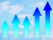 Blauwe pijlen: grafiek Stock Fotografie