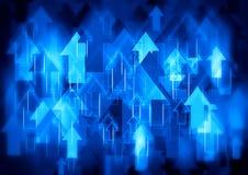 Blauwe pijlenachtergrond Stock Foto