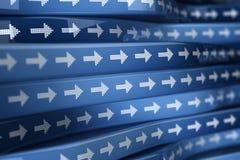 Blauwe pijlticker Stock Fotografie