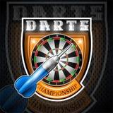 Blauwe pijltjes één met rond doel in centrum van schild Sportembleem voor om het even welk pijltjesspel of kampioenschap royalty-vrije illustratie