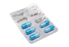 Blauwe pillen Stock Afbeelding