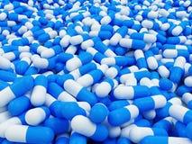 Blauwe Pillen 3D illustratie Als achtergrond Royalty-vrije Stock Fotografie