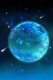 Blauwe planeet en komeet stock illustratie