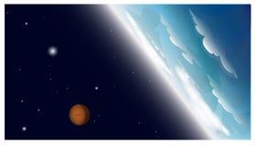 Blauwe planeet en oranje planeet met sterren in Ruimte Royalty-vrije Stock Fotografie