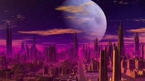 Blauwe planeet over de fantastische stad stock illustratie