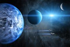 Blauwe Planeet Ruimteveren die op een opdracht opstijgen Stock Foto