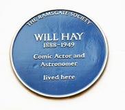 Blauwe plaque zal hooien Royalty-vrije Stock Afbeeldingen