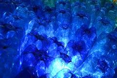 Blauwe plastflessen Stock Fotografie
