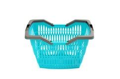 Blauwe plastic die het winkelen mand op wit wordt geïsoleerd. Royalty-vrije Stock Afbeelding