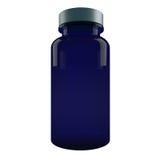 Blauwe Plastic die Pillenfles op witte achtergrond wordt geïsoleerd Stock Afbeeldingen