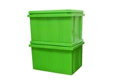 Blauwe plastic doos verpakking van gebeëindigde goederenproduct op witte achtergrond Royalty-vrije Stock Foto's