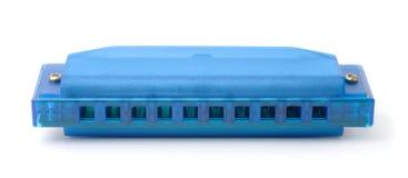 Blauwe plastic harmonika stock afbeelding