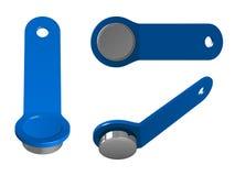 Blauwe plastic magnetische sleutel met metaaltablet, hoogste mening, bodem en zijaanzicht Stock Afbeelding