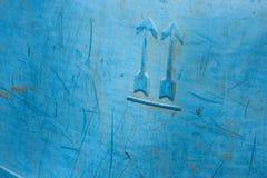 Blauwe plastic oude oppervlakte Stock Foto