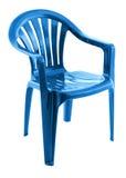 Blauwe plastic stoel Stock Foto