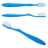 Blauwe plastic tandenborstel, de hoogste mening, zijdelings en op lange termijn Stock Fotografie