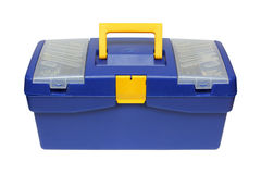 Blauwe plastic toolbox stock fotografie