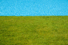 Blauwe Pool naast Groen Gazon Stock Foto's
