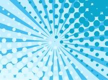 Blauwe pop-art retro achtergrond met exploderende grappige stralen en punten stock illustratie
